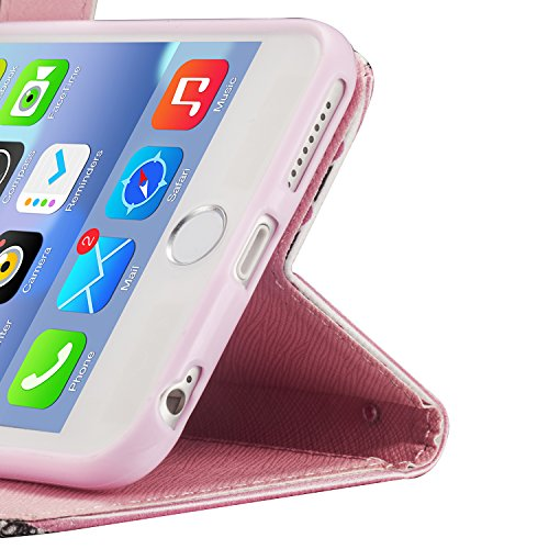 tinxi® Etui de protection en cuir PU pour Apple iPhone 6 plus / 6S plus 5,5 pouces étui portefeuille case cover coque housse de protection avec fonction support et fente pour cartes Motif la famille d rayures rose en style indien