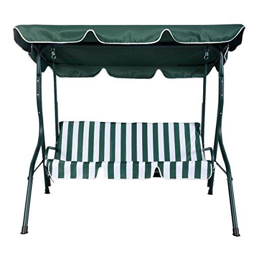 Hollywoodschaukel Schaukel Gartenschaukel Gartenliege Gartenbank 3-Sitzer (Grün)