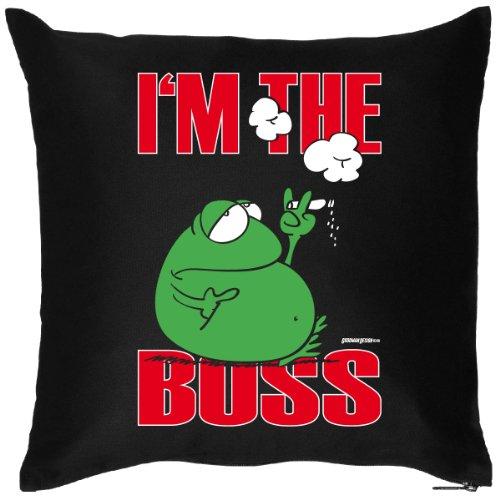 Cooles Sprüche Kissen : Boss / I´m the Boss / Frosch -- Kissen mit Füllung (Modernes Sofa Boss)