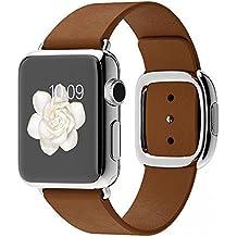 Apple Watch Edelstahl Smartwatch , Größe :38 mm Gehäuse, Armband:Leder - Modern, Armbandfarbe:Braun - S (135-150mm)