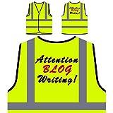 Aufmerksamkeit Blog schreiben! Lustige Neuheit neu Personalisierte High Visibility Gelbe Sicherheitsjacke Weste f12v
