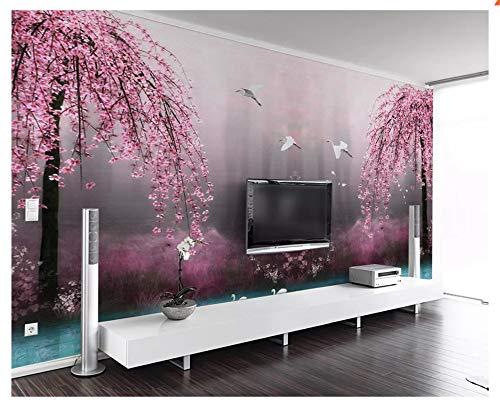 Kreative formaldehydfreie Wallpaper Mural 3D Wallpaper schöne verträumte rosa Kirschblüte Landschaft TV Hintergrund-400x280cm