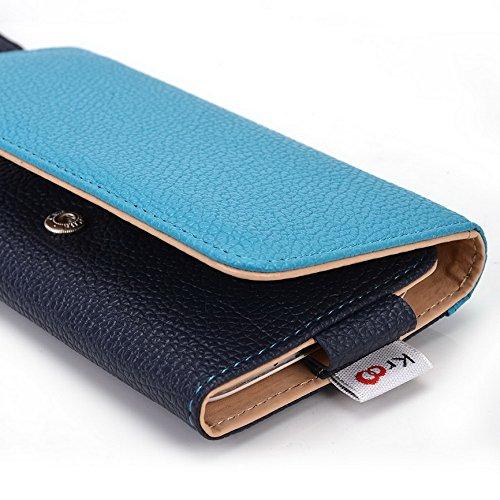 Kroo Pochette Téléphone universel Femme Portefeuille en cuir PU avec dragonne compatible avec Lava Iris Alfa/X8 Multicolore - Magenta and Black Bleu - bleu