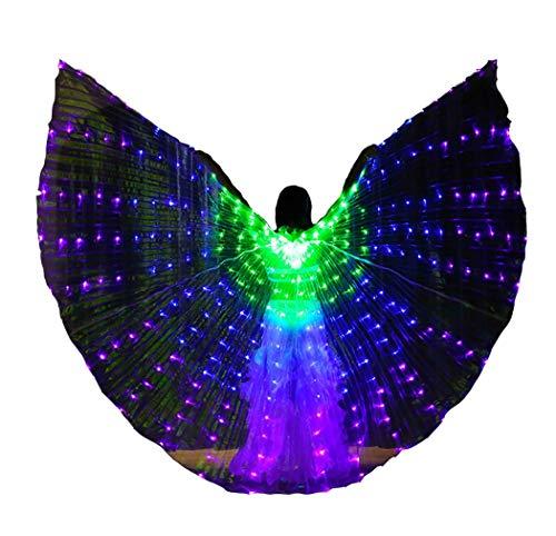 Isis Wings mit Teleskopstangen für Erwachsene Bauchtanz Kostüm LED Gradient Engelsflügel 360 Grad Leuchtenden,AsShown