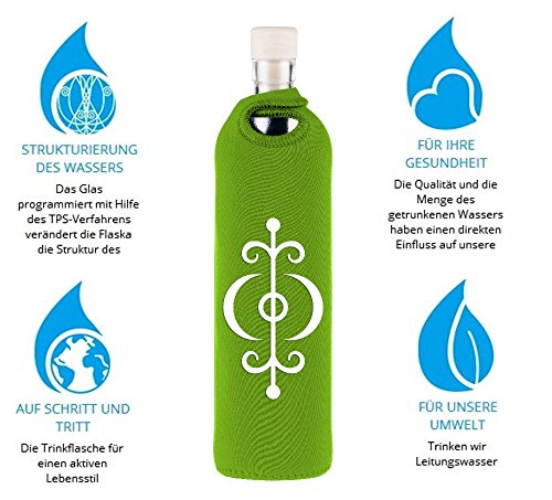Flaska Trinkflasche Attraction Symbols Gesundheit - Wasserflasche Glasflasche + 2 Korken