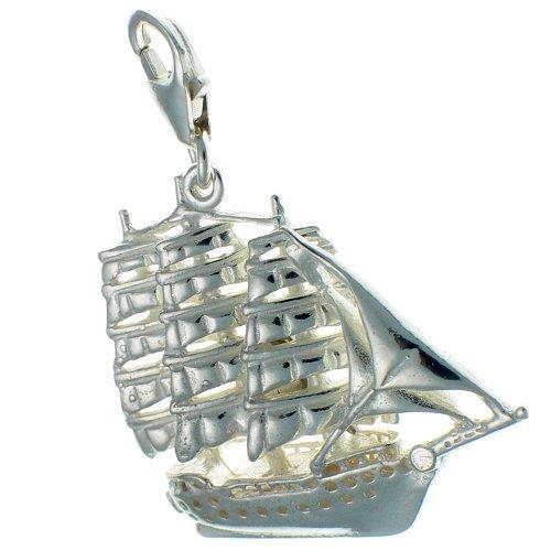 Welded Bliss Schiff Sterling-Silber 925 3-Masten-Schiff, Großer Karabiner, wbc1300