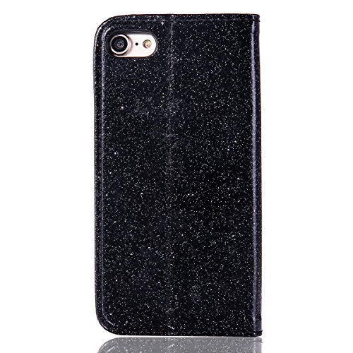 Lusso Wallet Case per iPhone 6Plus, MAOOY iPhone 6sPlus Moda Sparkle Shiny Cristallo Rhinestone Cassa, iPhone 6Plus/6sPlus Libro Portafoglio Custodia con Magnatic Closure & Carta di Credito & Basament Black 4