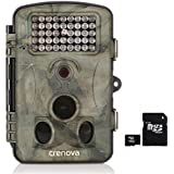 Crenova 2.4 LCD Display 12 Megapixel 1080P HD 120 Degree Wide Angle Infrared Night Vision Waterproof Hunting Trail Game Camera with 42pcs Low Glow IR LEDs Digital Surveillance Camera WITH 16GB CARD