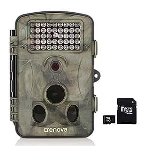 Crenova 12MP 1080P HD Wildkamera mit 16GB SD-Karte 120