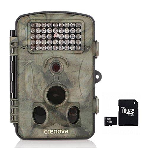 Crenova Fotocamera caccia + 16GB Card 12MP 1080P HD Ampio angolo di visione 120°fauna selvatica Fotocamera con Infrarossi Visione notturna Impermeabilità Fotocamera gioco Schermo LCD 2.4