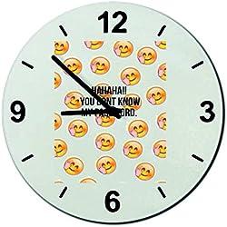 "Cristal reloj 'Gesture Obscene Smiley Haha vous Ne connaissez pas mon Mot de Passe Pin lutiger Smiley "", regarder- Ø18- ø20- ø30- Smiley- Emoji- astuces de Navidad, cristal, Ø18 cm"