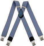 Decalen Hosenträger für Herren breit extra starken 4 cm mit 4er Clips X-Form lange für Männer und Damen Hose (Lichtblau)