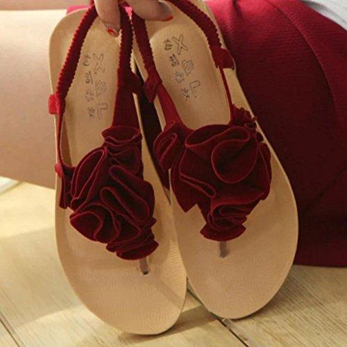 XIAMUO Koreanische Version des Sommers fashion flip flops Sandalen Damen flach Flacher Strand Schuhe clip Füße ziehen Hausschuhe, 38 Standard Größe, Handtuch mit Rose