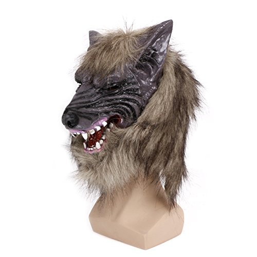 JERKKY Latex Tier Wolf Kopf Maske mit Haar Kostüm Kostüm Party Scary Halloween
