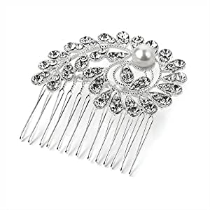 Silver And Pearl Colour Crystal Wire Hair Comb