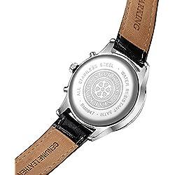 Starking Wristwatch Men's Luxury Stainless Steel/Genuine Leather Watchband Analog Quartz Watch Waterproof Wrist Watches Multifunction 3 Sub-dial Classic Roman Numeral Watch
