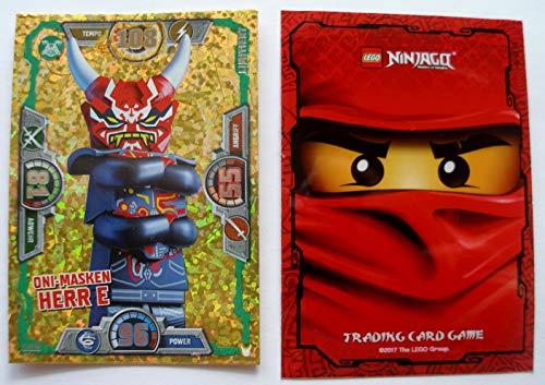 Lego Ninjago Serie 3 - 1 Limitierte Gold Karte Trading Card Game LE 19 Oni Masken Herr E + 1 Ninjago Schutzhülle + 1 bmg2000 Aufkleber