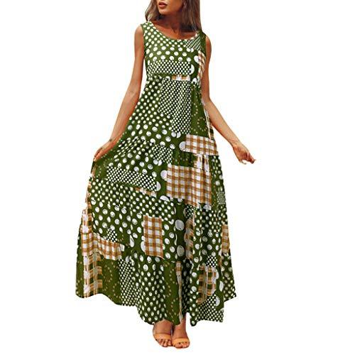 Geometrischen Print-Ärmellos (Carolui Damen Geometrische Muster Patchwork Print ärmelloses Langes Kleid Vintage Boho Maxi-Kleid Lose Urlaub Kleider(Grün,XXXL))