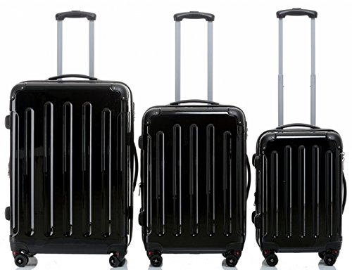 Trolley-Koffer-Set 3-tlg. - Ultra-Light - 4 Rollen - silber, schwarz, rot