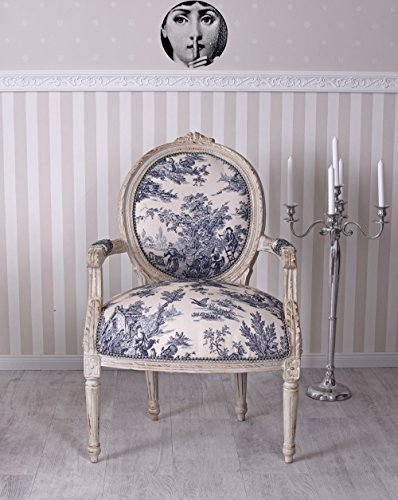Sessel Barock Landhaus Toile de Jouy Stuhl Shabby Chic Thron Palazzo Exklusiv cat521k33