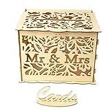 Kafen Rétro Urne Mariage en Bois - Boite Carte Mariage Décoration De Mariage - Monsieur Et Madame