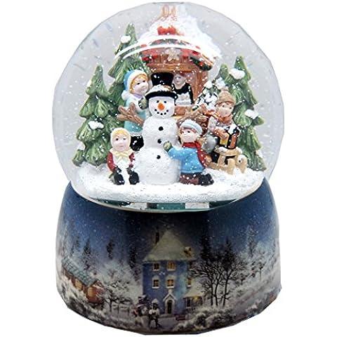 20064 Mega Palla di neve nostalgico paesaggio invernale di base in porcellana 150 mm di diametro e Snowmotion musica scatola