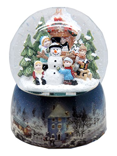 Nostalgie-Schneekugel mit Kindern und Schneemann mit Snowmotion und Spieluhr- 20062