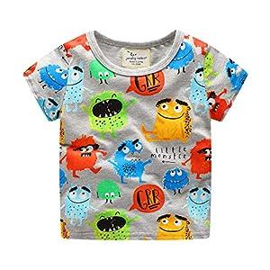 Camiseta de manga corta con cuello redondo de algodón para bebé niño pequeño monstruo 10