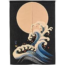 Mr Fantasy lino y algodón Noren japonés puerta cortina tapiz habitación separador para cocina Hogar Decoración, Moon, 85*120cm