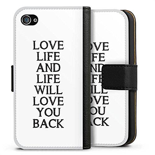 Apple iPhone X Silikon Hülle Case Schutzhülle Liebe Leben Sprüche Sideflip Tasche schwarz