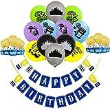 Sayala Kit de 28 décorations de bannière d'anniversaire pour gâteau d'anniversaire,12ballons en Aluminium pour décorations pour Enfants