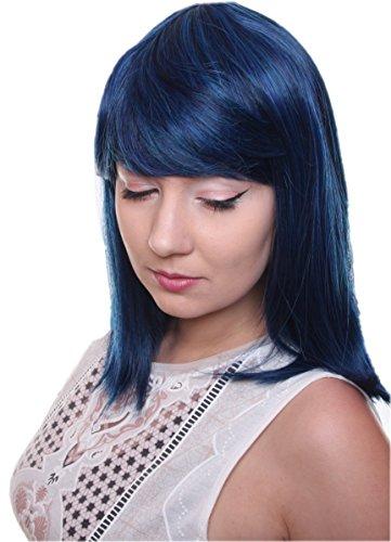 Prettyland Schwarz Blau Strähnen Mittellange Glatte Natürlich Matte wie Echthaar hitzefeste Volumen Perücke Wig (Cleopatra Schwarze Perücke)