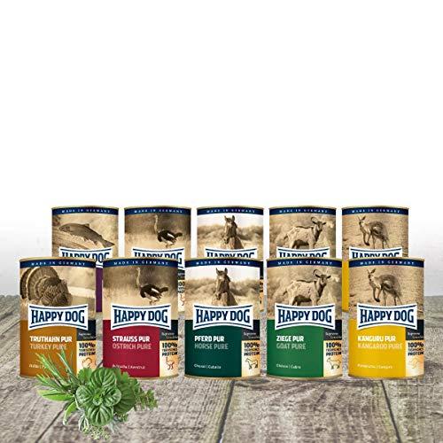 Happy Dog- Gourmet Dosen pur 10 x 400 g Mischtray mit je 2 Dosen Lachs, Strauß, Ziege, Känguru & Pferd