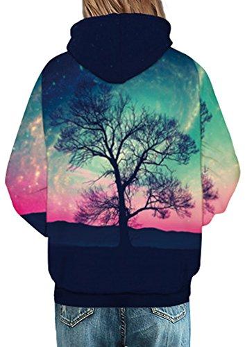 Bettydom Damen Unisex Slim Fit mit bunt 3D Aufdruck Geschmack Weihnachten Sweatshirt Kapuzenpullover Hoodies Langarm Top Jumper Shirt Baum