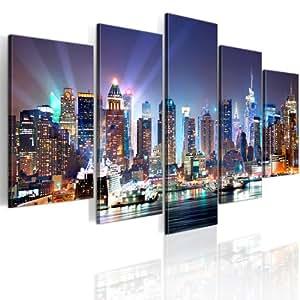 200x100 !!! RIESEN-FORMAT + Bild auf Leinwand + 5 TEILIG + NEW YORK + Wandbilder 9020099 + 200x100 cm +++ RIESEN BILDER KUNSTDRUCK WANDBILDER AUSWAHL IN UNSEREM HAENDLERSHOP +++