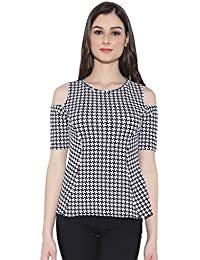 Chimpaaanzee women White Printed Cold shoulder Top