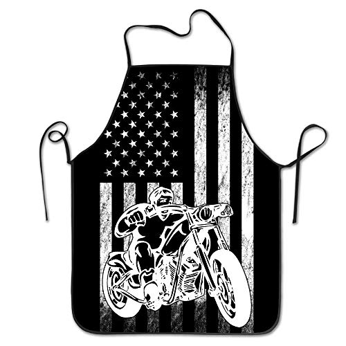 fengxutongxue American Motorcycle US Flag Fun Biker Bib Apron Adult Women Unisex Durable Comfortable Washable for Cooking Baking Kitchen Restaurant Biker-bib