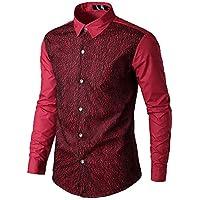 Yvelands Camisa de Encaje de Hombre, Camisa de Manga Larga de Corte Slim Casual de la Moda de los Hombres, ¡Ofertas