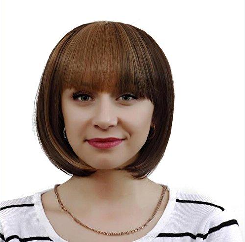 OOARGE Frauen Bob kurze Perücke Flachs braun Farbe Hitze widerstehen Cospaly Partei Haar Perücke , (Der Schwarz Frisuren Jahre 80er)