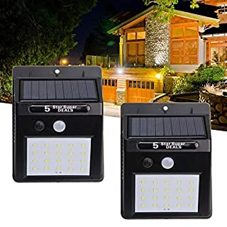 Pack of 2 Solar Lights with 20 LED YUNRUX Solar lamp Spotlight Solar Spotlight Motion Sensor Wall Light Energy Saving Waterproof Sensor Light for Garden Deck, Yard, Hallway, Porch