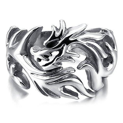 mendino Jewellery Herren Dragon Hallow out Gothic Biker Silber Edelstahl Ringe mit einem Samtbeutel