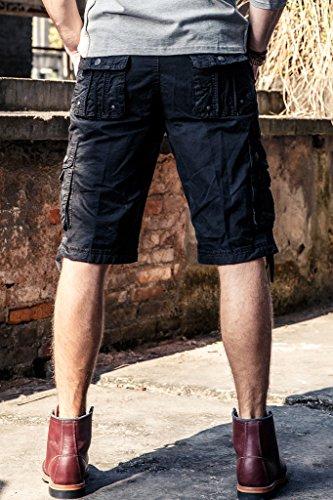 Herren Cargo Shorts Casual Kurze Hose Tunnelzug 100% Baumwolle mit Multi-Taschen Schwarz