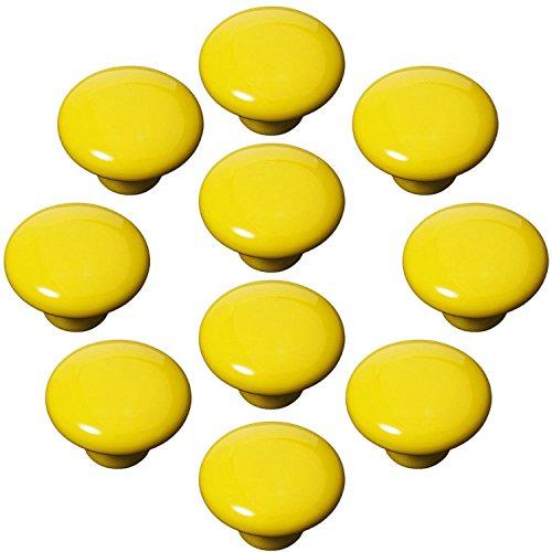 FBSHOP(TM) 10x33mm Gelb Porzellan Möbelknöpfe Griffe Knauf MöbelKnopf Tür für Schränke, Schubladen, Truhen, Schlafzimmer, Badezimmer ,Kindermöbel Schubladengriffe Dekorative (Holz-kinderzimmer-schrank)