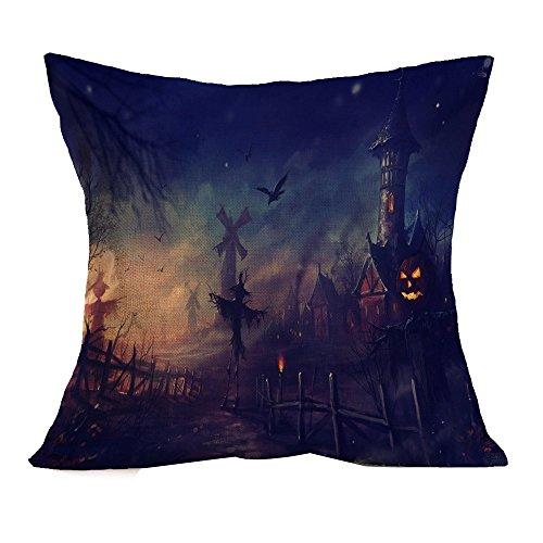 VEMOW Halloween Party Dekoration Kissenbezug Sofa Taille Mode Werfen Kissenbezug Home Decor(Blau 2, 45cm*45cm)