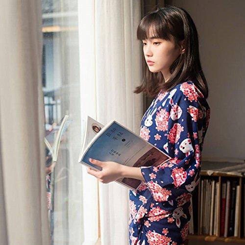 SED Cherry Blossom Bunny Japanische Kimono Pyjamas Zwei Anzug Cardigan Hause Service,Blau,L