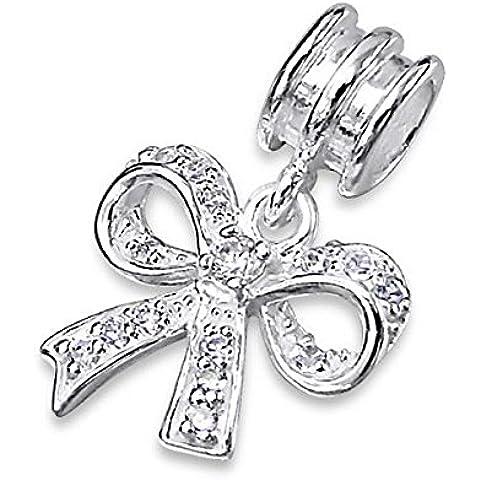 Silvadore - Charma a forma di fiocco, in argento Sterling 925, fiocco con cristalli e zirconia cubica, charm in 3D a scorrimento 770, adatto per bracciali Pandora, in confezione regalo