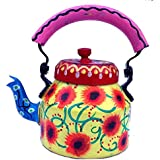 ECHO Hand Painted Aluminum Tea Kettle Pot,Multicolor Tradition Tea Pot/Kettle Art Home And Garden Kitchen And Dinning Serve Ware Table Ware Coffee & Tea.