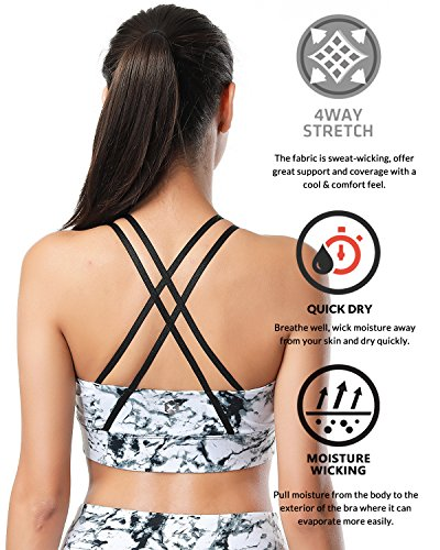 X-HERR Damen Yoga Sport BHs - Überkreuzte Rücken Herausnehmbare Pads Fitness Active Sport-BH Marmor