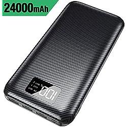 KEDRON Power Bank 24000mAh Caricabatterie Portatile con Display LCD Digitale e 3 Porte USB per Tutti Gli Smartphone