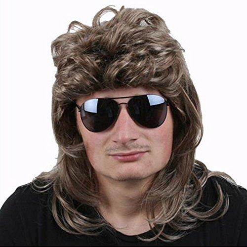 TE-Trend 80er Vokuhila Perücke Herren Proll Macho Star Haarteil dunkelblond Fasching Karneval mit (Macho Mann Kostüm)